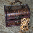 Treasure chest on the wooden floor — Stock Photo