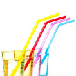 Colorful drinks with straws — Stock Photo