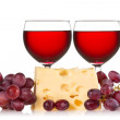 Grapes, cheese and red wine — Stock Photo