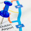 Pushpin showing Dublin airport location — Stock Photo