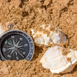 Compass and seashells — Stock Photo