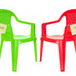 Stock Photo: Green and red chair for debate