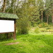Stock Photo: Blank wooden billboard in forest