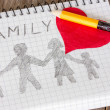 Child's drawing of a family — Stock Photo