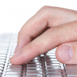 Hand typing on keyboard — Stock Photo