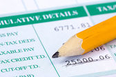 Pencil and report with monthly wage — Stock Photo