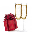 Champagne and a luxury gift box — Stock Photo