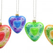 Heart shaped christmas baubles — Stock Photo