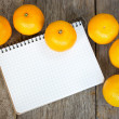 Clementines and notebook — Stock Photo