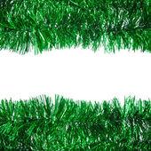 Green Christmas tinsel frame — Stock Photo