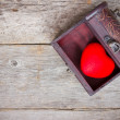 Red heart  in the old  box — Stock Photo