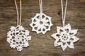 Crochet christmas snowflakes — Stock Photo