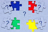Puzzle with question marks on it — Foto Stock