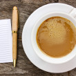 Stock Photo: Blank paper with hot coffee cup