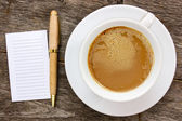 Blank paper with hot coffee cup — Stock Photo