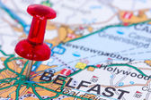 Pushpin pointing in Belfast — Stock Photo