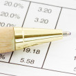 Pen on financial spreadsheet — Stockfoto #40169589