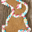 Easter bunny gingerbread cookie — Stock Photo