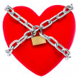 Red heart locked on padlock — Stock Photo