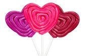 Three heart shaped lollipops — Stockfoto