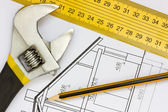 Tools on the building blueprints  — Stock Photo
