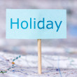 Map with note about holiday — Stock Photo