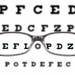 Sight test seen through eye glasses — Stock Photo