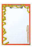 Clipboard with pen and measure tape  — Zdjęcie stockowe