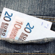 Fifty euros in the jeans pocket — Stock Photo #47625843