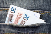 Fifty euros  in the jeans pocket  — Stock Photo