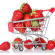 Strawberries in shopping cart — Stock Photo