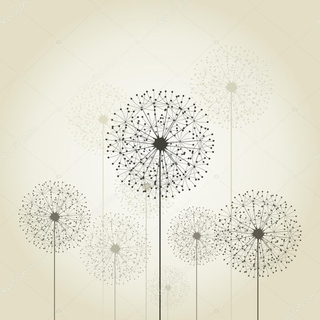 花蒲公英在灰色的背景上.矢量插画– 图库插图