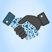 Bird hand shake — Vector de stock