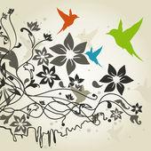 Birds a flower4 — Stock Vector