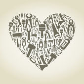 Heart the tool — Stock Vector