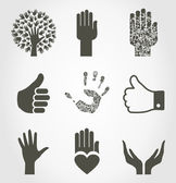 Set of icons of hands. — Stock Vector