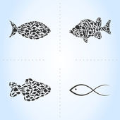 Set of sea fishes. — Stock Vector