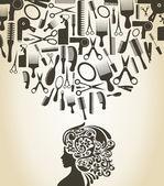 ヘアドレス少女の頭 — ストックベクタ