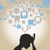 Toothache a teeth round a head — Stock Vector