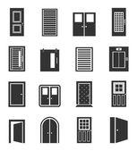 Set of icons of doors — Stock Vector
