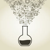 Science takes off from a flask — Vector de stock