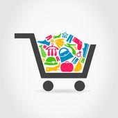 Clothes a cart — Stock Vector