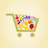 Fruit a cart — Stock Vector
