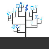 Tree with musical notes instead of leafs — Vector de stock