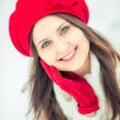 Winter girl in red. — Stock Photo #40037271