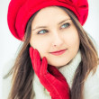 Winter girl in red. — Stock Photo #40037345