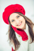 Winter girl in red. — Stock Photo