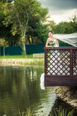 Bride on the banks — Stock Photo