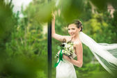 Bride is smiling — Stock Photo