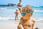 Playful boy in swimming goggles — Stock Photo